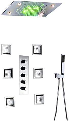 サーモスタットバスタブ蛇口浴室のレインシャワーの蛇口セットは、システム天井のLEDシャワーヘッドシャワー滝,I thermostatic style