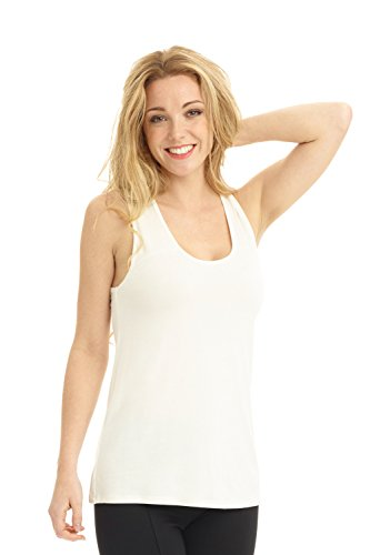Rekucci Women's Soft Knit Scoop Neck Sleeveless Tank Top (X-Large,Ivory) (Sexy Plus Size Blazers)