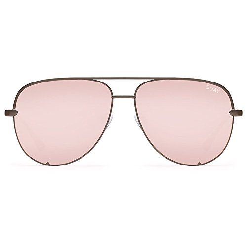 Quay High Key Sunglasses | Aviator Mirror Lens | UV Protection (Gunmetal/Rose Mirror, - Uv Protection Sunglasses Australia