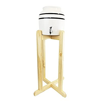 """Lead-Free Porcelain Water Dispenser with Black Stripes and 27"""" Wood Floor Stand"""