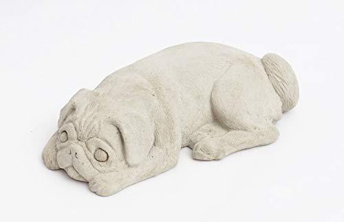 HANDMADE Dog Pug Statue Figure Cement Home Garden Decor Very Cute !!!! ()