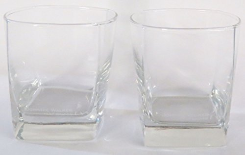 Johnnie Walker Keep Walking Prestige Square Base Rocks Glass Set | Set of 2 Glasses (Johnnie Walker Whisky Blue Label)