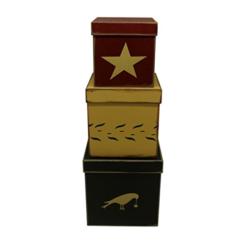 CVHOMEDECO. Primitive Country Cubic Star Crow Cardboard Nesting Boxes, 8