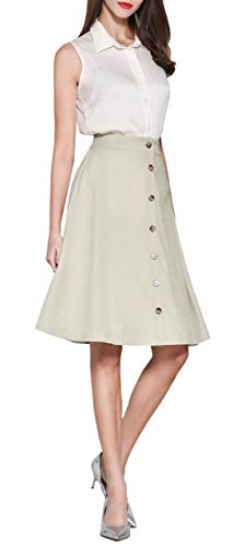 Pytha Sight Women's A-Line Flowing Midi Skirt High Waist Pleated Twill Skirt with Pockets (Large, 04 Light Beige)