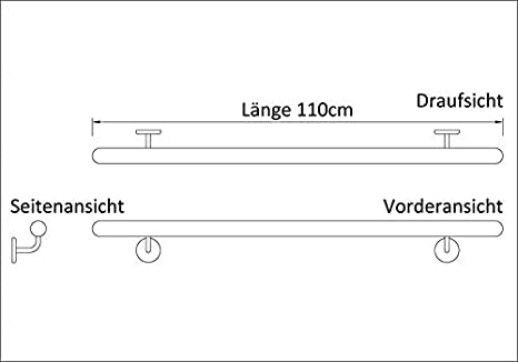 Holz-Handlauf Set mit halbrunden Abschl/üssen und Haltern 50-140cm am St/ück Buche, 120cm