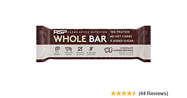 RSP Whole Bar - Low Carb Keto Protein Bar + Quality Fats, 10g Grass Fed  Protein, 4g Net Carbs, 19g