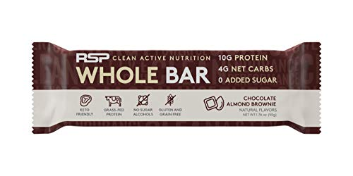 RSP Whole Bar – Low Carb Keto Protein Bar + Quality Fats, 10g Grass Fed Protein, 4g Net Carbs, 19g Fat, Zero Added Sugar, Perfect Keto Snack, Gluten Free, 12 Pack (Chocolate Almond Brownie)