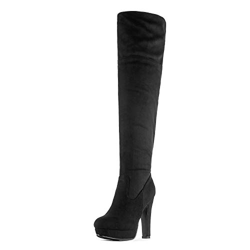 Thigh Heel Heels High High - DREAM PAIRS Women's HIGHPLAT Black Chunky Thigh High Over The Knee High Heel Boots Size 10 B(M) US