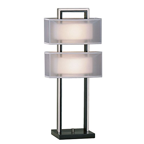 Amarillo Silver Accent - Nova Lighting 3349 Amarillo Silver Accent Table, Dark Brown Wood & Brushed Nickel with Ghost White Shades