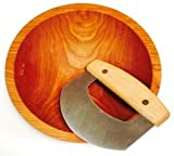Solid Cherry 9 Inch Chopping Bowl and Mezzaluna Knife Set