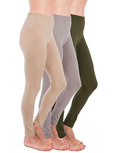 Homma Premium Ultra Soft High Rise Full Length Leggings, Regular and Plus Size (S/M/L, Khaki/Lt.Grey/Olive)