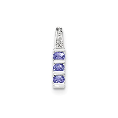 ICE CARATS 14k White Gold Blue Tanzanite Diamond Necklace Chain Slide Fine Jewelry Gift Set For Women Heart