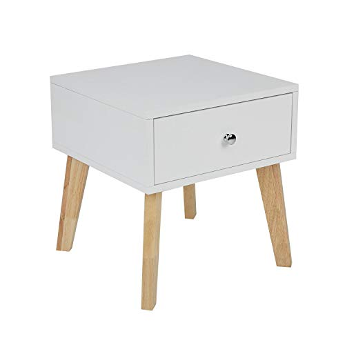 TaoHFE White Nightstand, Wooden End Table with Drawer/Accent Side Table for Living Room Large Space Smooth Surface