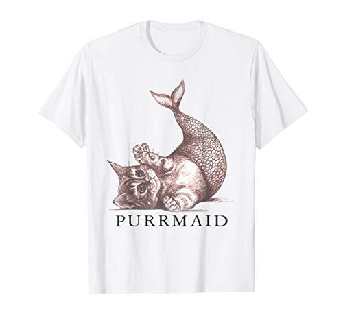 Ladies Funny Novelty T-Shirt PURR Maid CAT Mermaid Womans Tee Shirt