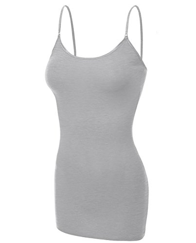 Emmalise Clothing Women's Basic Casual Plain Long Camisole Cami Top Tank, Heather Gray, X-Large ()