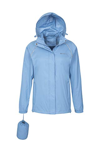 Mountain Warehouse Pakka Womens Rain Jacket - Packable, Waterproof Pale Blue 6