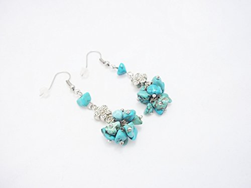 Handmade Thank you gifts cluster chunky stone earrings Turquoise jewelry drop bunch silver flower ()