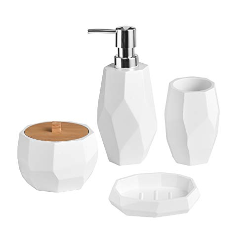 Shireen Home Facet Asymmetrical White Resin Bathroom Accessory Complete Set.4 Pieces Collection. Soap or Lotion Dispenser, Tumbler, Sundry Jar, Soap Dish