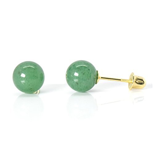 Aventurine Yellow Earrings - 6mm Natural Aventurine 14k Yellow Gold Safety Screw Back Earrings Womens Fashion Trendy