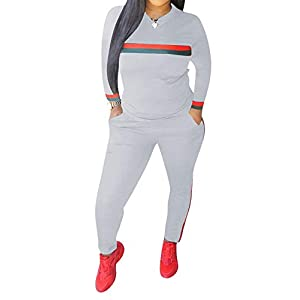 Top-Vigor Women 2 Pieces Sports Tracksuits Outfits Long Sleeve Top and Long Bodycon Pants Sweatsuits Set 17