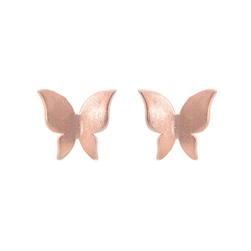 - 925 Sterling Silver Adorable Butterfly Earring Studs for Women, Rose Gold Plating