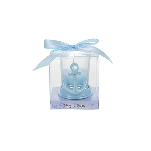 Mega Favors 12 pcs Party Keepsake Baby Blue Anchor Candle Set | Awesome Party Favors For Baby Shower Announcement Parties, Boys Or Girls Party & Other Themed Events
