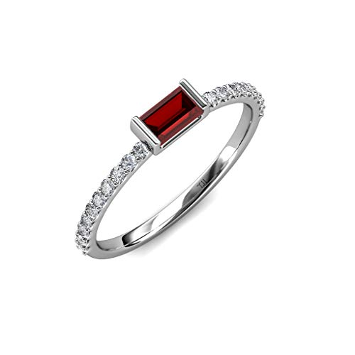 TriJewels Baguette Red Garnet and Round Diamond Womens Promise Ring 0.50 ctw 14K White Gold.size 7.5 ()