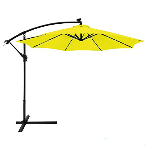 AK Energy 10ft Yellow Outdoor 24 Solar LED Light Patio Offset Umbrella Stand Crank Lift 79