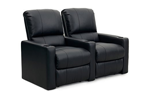 Octane Seating CHARGER-R2SM-BND-BL Charger XS300 Leather Home Theater Recliner Set (Row of 2), Black
