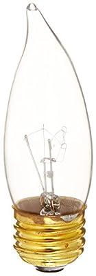 Bulbrite B25EFC 25-Watt Medium Base Incandescent Flame-Tip Chandelier Bulb, Clear, 2-Pack