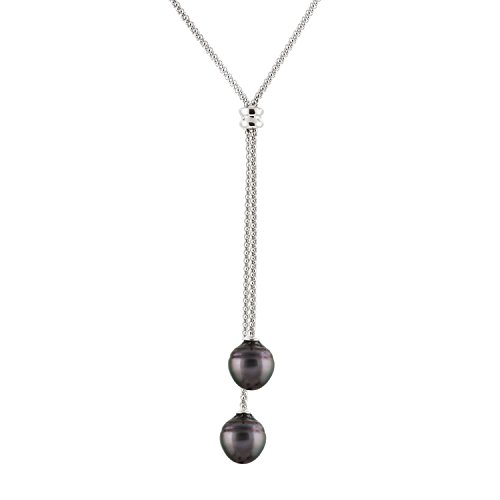 Handpicked AAA+ 8-8.5mm Freshwater Cultured Pearls Sterling Silver Rhodium-Plated Double Drop Dangle Y- Necklace 18