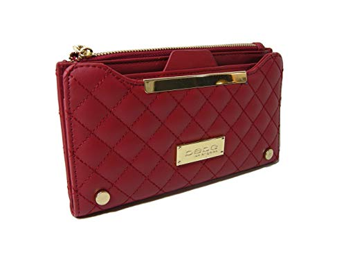 New BEBE Logo Wallet Purse Hand Bag Clutch Red Gold Antonia Quilt ()