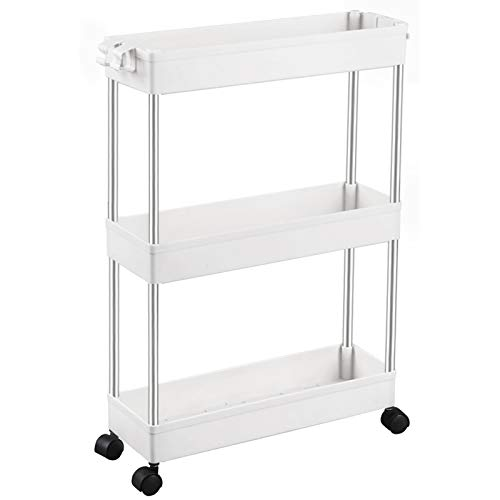 SPACEKEEPER 3 Tier Slim Storage Cart Mobile Shelving Unit Organizer Slide Out Storage Rolling Utility Cart Tower Rack…