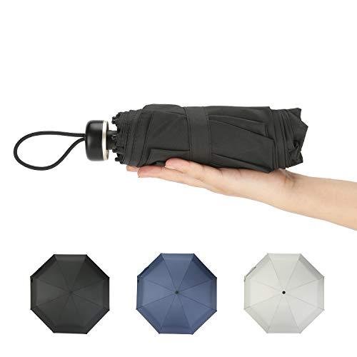 BATURU Travel Mini Umbrella Windproof UV Folding Compact Umbrella Small Lightweight Sun & Rain Umbrellas (Black)