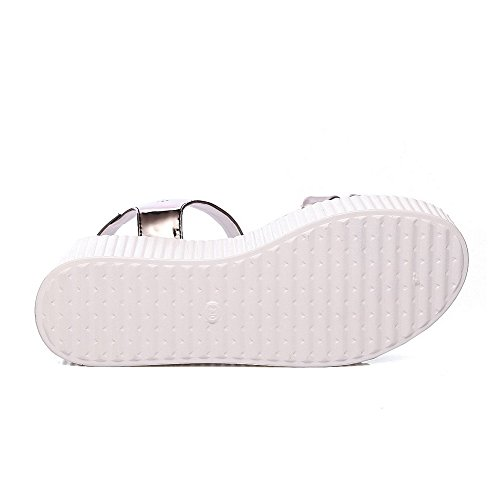 Amoonyfashion Donna Fibbia Gattino Tacco Misto Materiali Solidi Sandali Open Toe Grigi