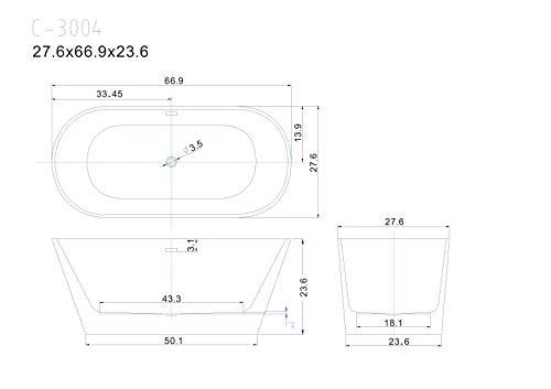67'' Freestanding Luxury Bathtub White Acrylic by Eurotrend (Image #4)