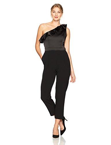 Maggy London Women's Satin and Crepe One Shoulder Jumpsuit, Black, 12