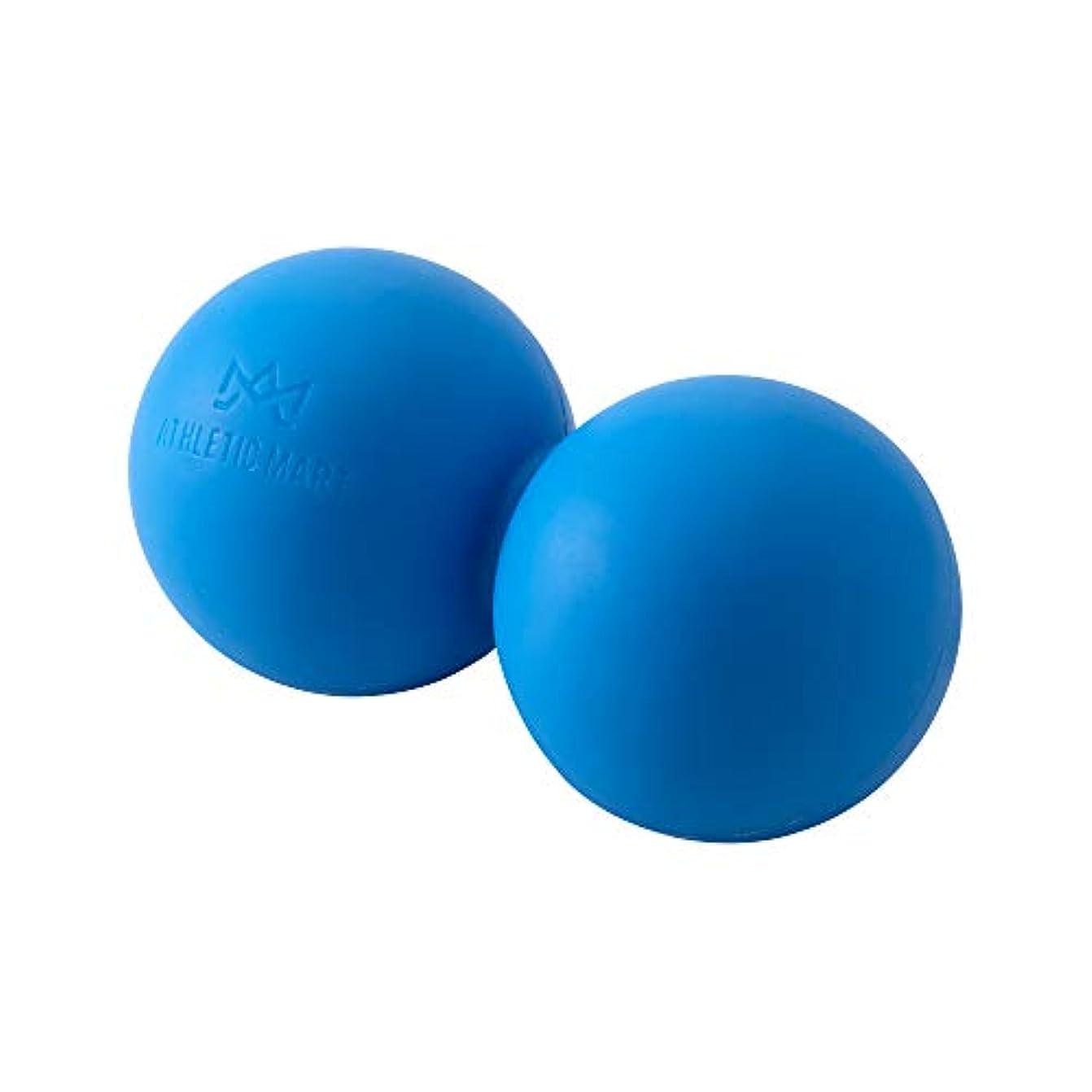 挨拶不機嫌そうな父方のATHLETIC MART ピーナッツ型ストレッチボール マッサージボール ラクロスボール2個サイズ ツボ押し (ブルー)