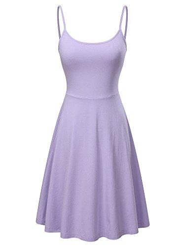 Adjustable Dress - VETIOR Women's Sleeveless Adjustable Strappy Flared Midi Skater Dress (Large, Purple)