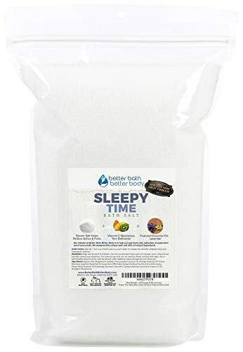 Sleepy Time Bath Salt 128oz (8-Lbs) Epsom Salt Bath Soak With Lavender & Ylang Ylang Essential Oils & Vitamin C - All Natural No Perfumes No Dyes - Bulk Size Extra Large Bag
