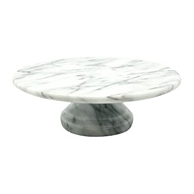 Creative Home Marble Cake Plate on Pedestal, 10  x 10 , White