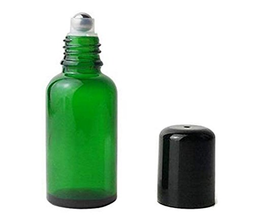 3PCS Upscale Thick Glass Green Empty Refillable Roll on Bottles Roll-On Vial Container With Metal Roller balls Black Cap For Perfume Essential Oil(30ml/1oz)