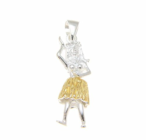 925 Sterling silver Hawaiian hula girl dancer movable yellow gold plated two tone pendant medium
