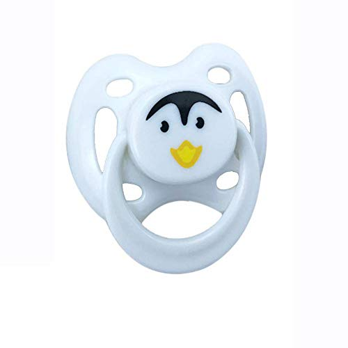 PURSUEBABY Funny White Duck Magnetic Pacifier for Realistic Reborn Dolls, Lifelike Baby Doll Magnetic Nipple Dummy 1Pcs