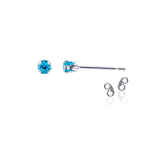 (Sterling Silver Rhodium 3mm Round Natural Swiss Blue Topaz December Birthstone Stud Earrings)