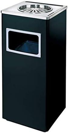 ステンレス鋼のゴミ箱は灰皿で/屋外のごみ箱ホテルの会社単位の縦の不用物のリサイクルの堆肥の大箱と大 (Color : Black, サイズ : 9.46*9.46*24.83inchs)