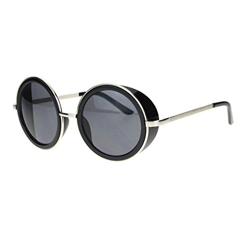 Side Visor Circle Round Lens Retro Victorian Steam Punk Sunglasses Silver - Sunglasses Victorian Retro