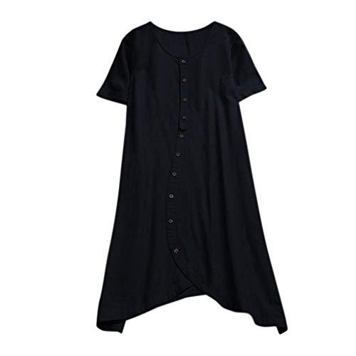 Algodón Originales Mujer Casuales Irregulares Tallas Grandes Botones Tops Negro De Camisetas Slyar Manga Moda Verano Corta Corta pIBnCx85wq