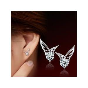 Smile Crytal – Fashion Women 925 Sterling Silver Jewelry Angel Wings Crystal Ear Stud Earrings