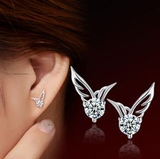 Smile Crytal - Fashion Women 925 Sterling Silver Jewelry Angel Wings Crystal Ear Stud Earrings